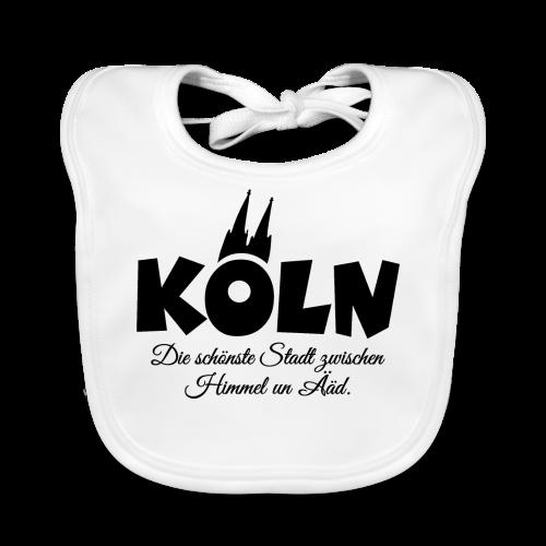 Köln, die schönste Stadt zwischen Himmel un Ääd (Schwarz) - Baby Bio-Lätzchen