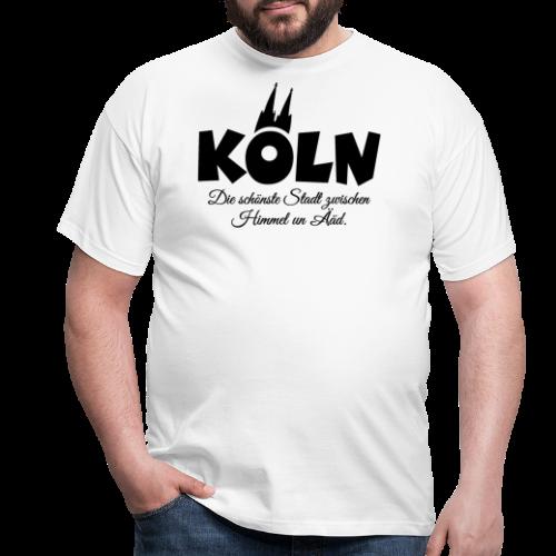 Köln, die schönste Stadt zwischen Himmel un Ääd (Schwarz) - Männer T-Shirt