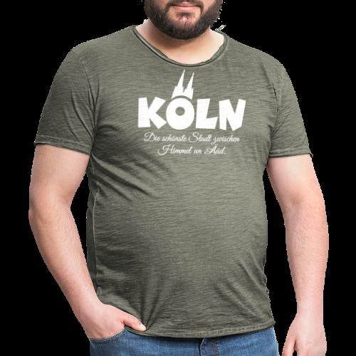 Köln, die schönste Stadt zwischen Himmel un Ääd (Weiß) - Männer Vintage T-Shirt