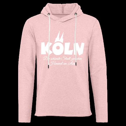 Köln, die schönste Stadt zwischen Himmel un Ääd (Weiß) - Leichtes Kapuzensweatshirt Unisex