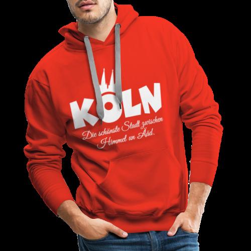Köln, die schönste Stadt zwischen Himmel un Ääd (Weiß) - Männer Premium Hoodie