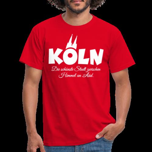 Köln, die schönste Stadt zwischen Himmel un Ääd (Weiß) - Männer T-Shirt