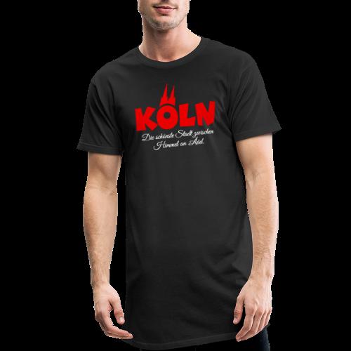 Köln, die schönste Stadt zwischen Himmel un Ääd (Schwarz/Rot) - Männer Urban Longshirt