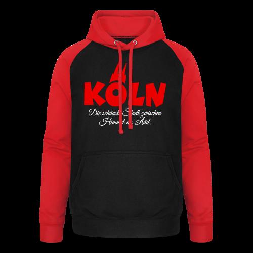 Köln, die schönste Stadt zwischen Himmel un Ääd (Schwarz/Rot) - Unisex Baseball Hoodie