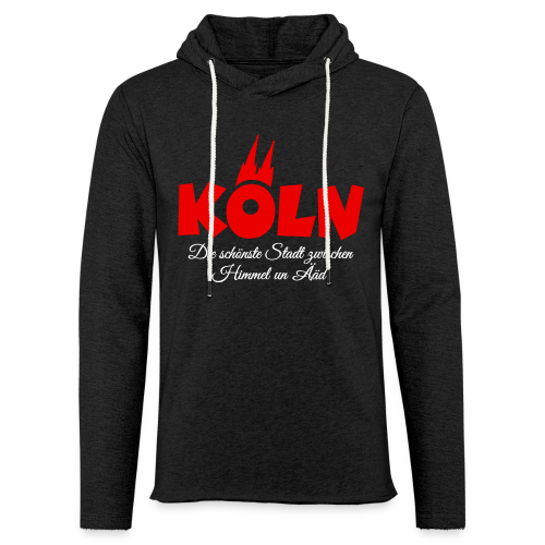 Köln, die schönste Stadt zwischen Himmel un Ääd (Schwarz/Rot) - Leichtes Kapuzensweatshirt Unisex