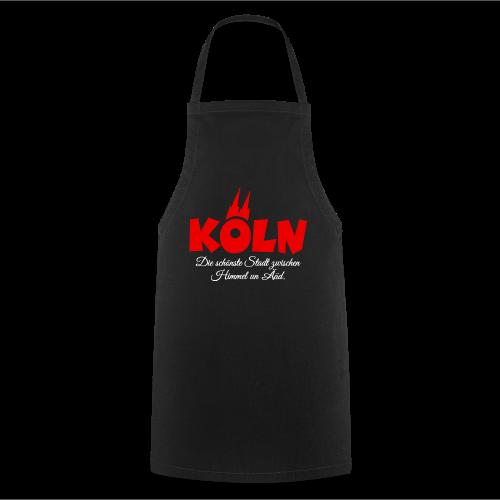 Köln, die schönste Stadt zwischen Himmel un Ääd (Schwarz/Rot) - Kochschürze