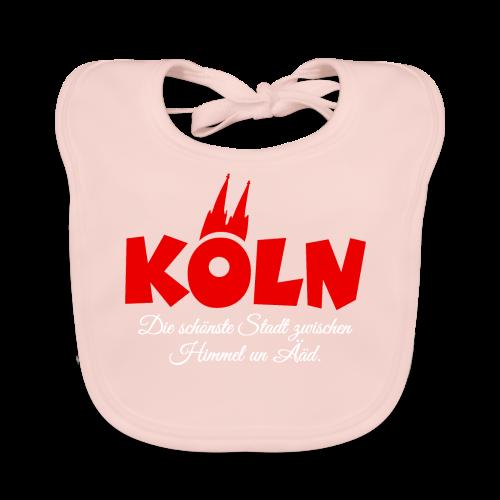 Köln, die schönste Stadt zwischen Himmel un Ääd (Schwarz/Rot) - Baby Bio-Lätzchen
