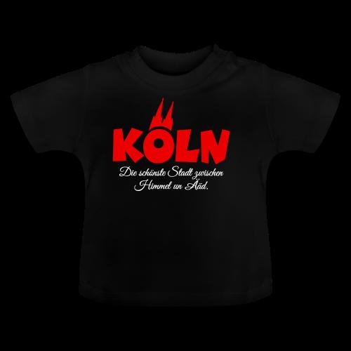 Köln, die schönste Stadt zwischen Himmel un Ääd (Schwarz/Rot) - Baby T-Shirt