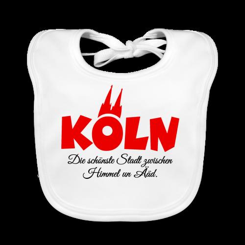 Köln, die schönste Stadt zwischen Himmel un Ääd (Rot/Schwarz) - Baby Bio-Lätzchen
