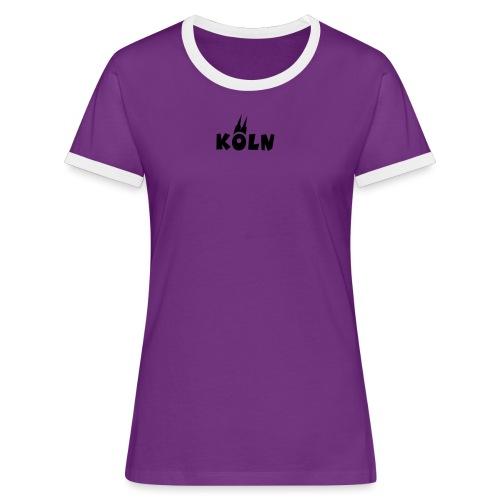 KÖLN (Weiß/Center) mit Kölner Dom - Frauen Kontrast-T-Shirt