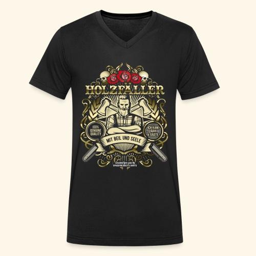 Holzfäller T Shirt mit Beil und Seele - Männer Bio-T-Shirt mit V-Ausschnitt von Stanley & Stella