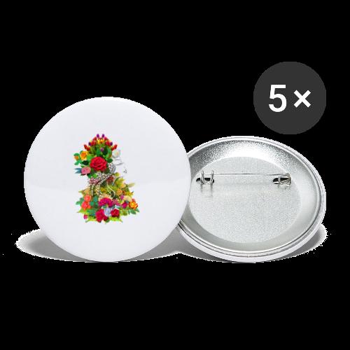 Lady flower by T-shirt chic et choc - Lot de 5 moyens badges (32 mm)