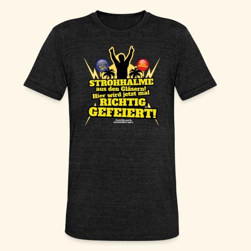 Party Crew T Shirt Strohhalm | Spruch - Unisex Tri-Blend T-Shirt von Bella + Canvas
