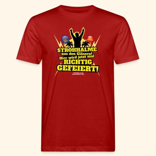 Party Crew T Shirt Strohhalm   Spruch - Männer Bio-T-Shirt