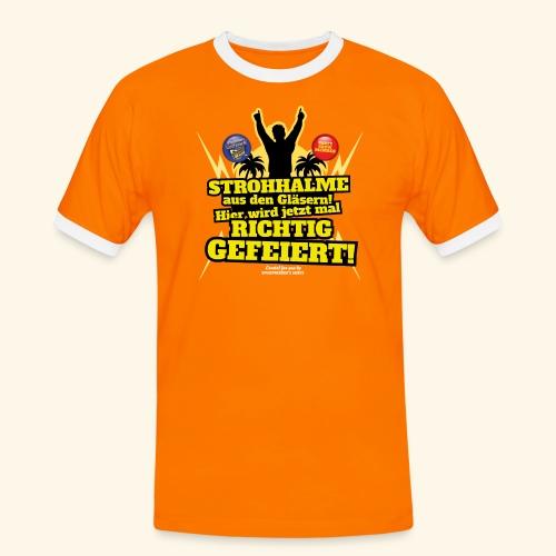 Party Crew T Shirt Strohhalm   Spruch - Männer Kontrast-T-Shirt