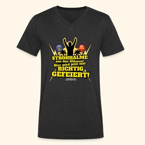 Party Crew T Shirt Strohhalm   Spruch - Männer Bio-T-Shirt mit V-Ausschnitt von Stanley & Stella