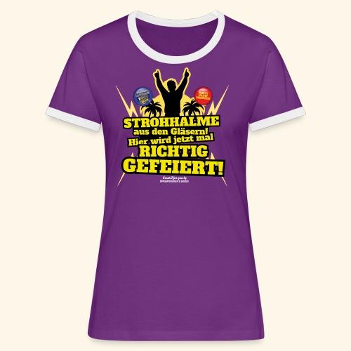 Party Crew T Shirt Strohhalm | Spruch - Frauen Kontrast-T-Shirt