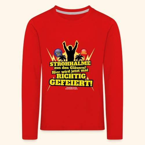 Party Crew T Shirt Strohhalm | Spruch - Kinder Premium Langarmshirt