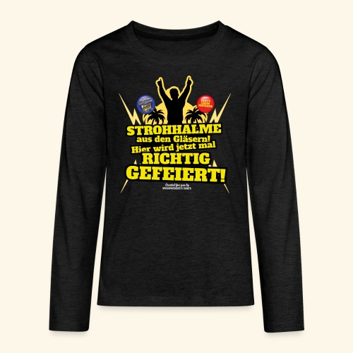 Party Crew T Shirt Strohhalm | Spruch - Teenager Premium Langarmshirt