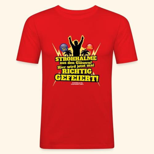Party Crew T Shirt Strohhalm   Spruch - Männer Slim Fit T-Shirt