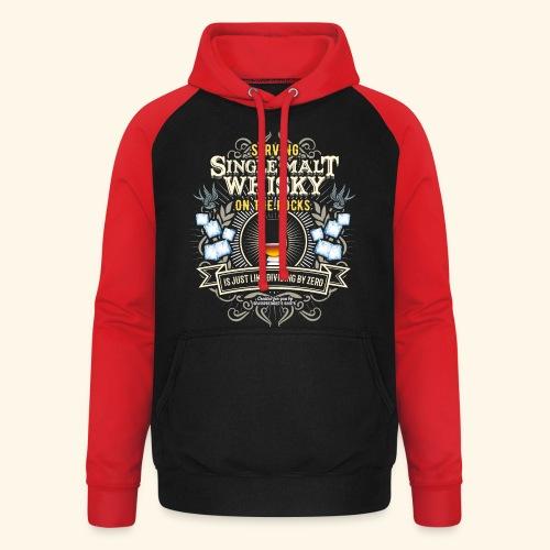 Whisky T Shirt Single Malt on the Rocks - Unisex Baseball Hoodie