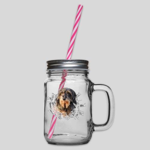 Rauhaardackel im *Glas-Loch* - Henkelglas mit Schraubdeckel