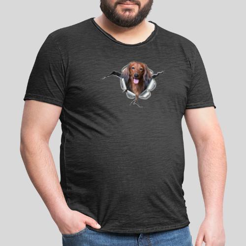 Langhaar Dackel im *Metall-Loch* - Männer Vintage T-Shirt