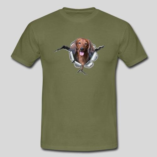Langhaar Dackel im *Metall-Loch* - Männer T-Shirt