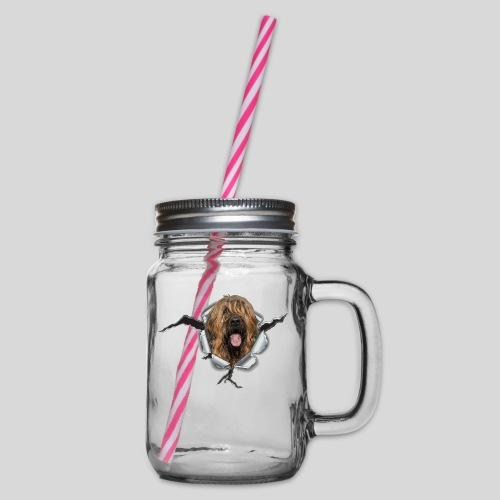 Briard fauve im *Metall-Loch* - Henkelglas mit Schraubdeckel