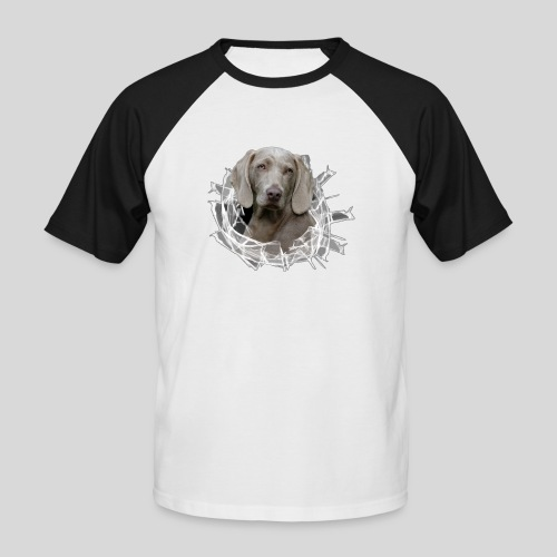 Weimaraner im *Glas-Loch* - Männer Baseball-T-Shirt