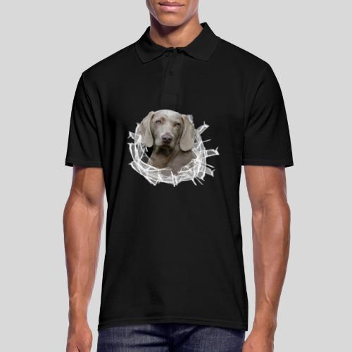 Weimaraner im *Glas-Loch* - Männer Poloshirt