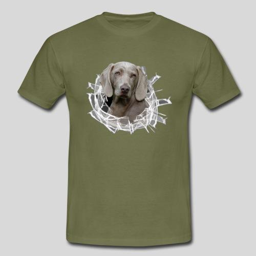 Weimaraner im *Glas-Loch* - Männer T-Shirt