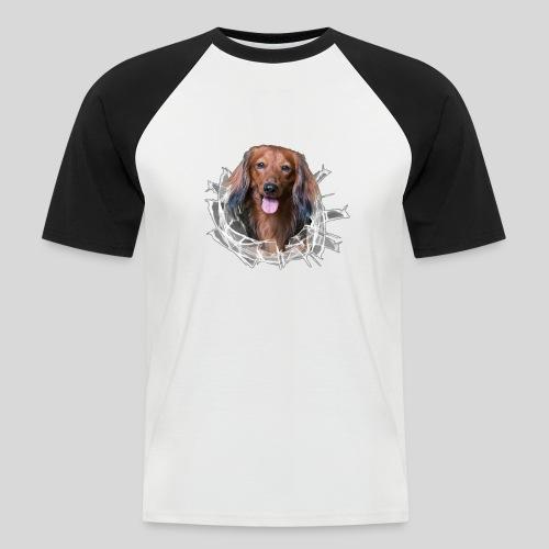 Langhaar Dackel im *Glas-Loch* - Männer Baseball-T-Shirt