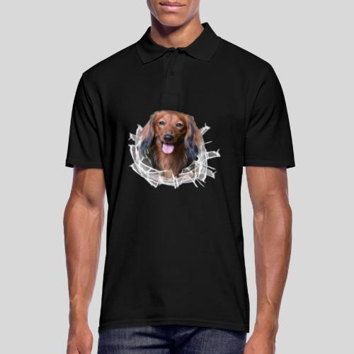 Langhaar Dackel im *Glas-Loch* - Männer Poloshirt