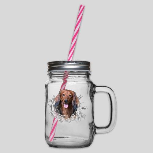 Langhaar Dackel im *Glas-Loch* - Henkelglas mit Schraubdeckel