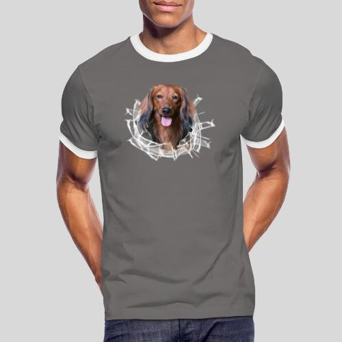 Langhaar Dackel im *Glas-Loch* - Männer Kontrast-T-Shirt