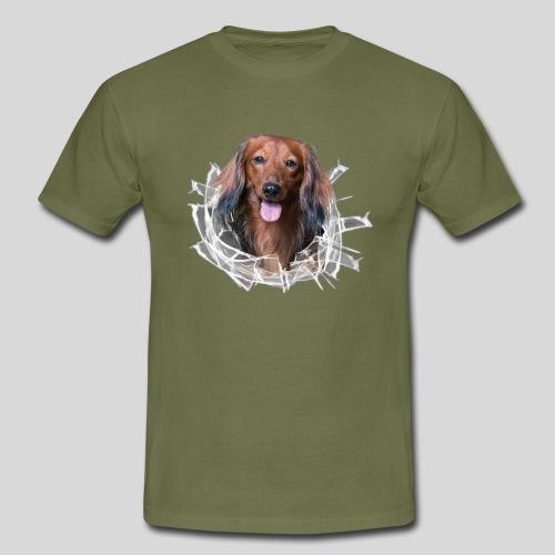 Langhaar Dackel im *Glas-Loch* - Männer T-Shirt