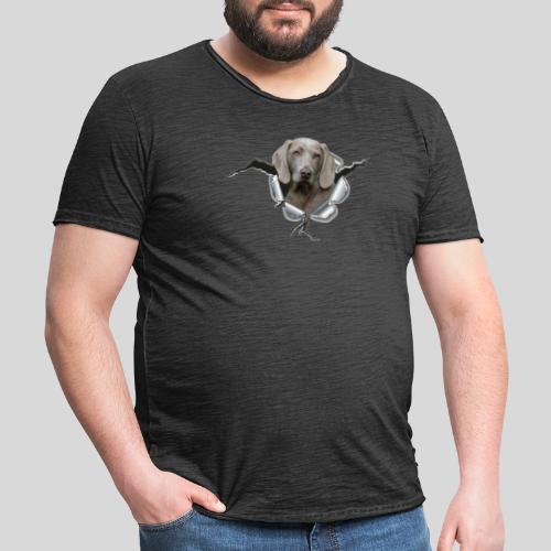 Weimaraner im *Metall-Loch* - Männer Vintage T-Shirt