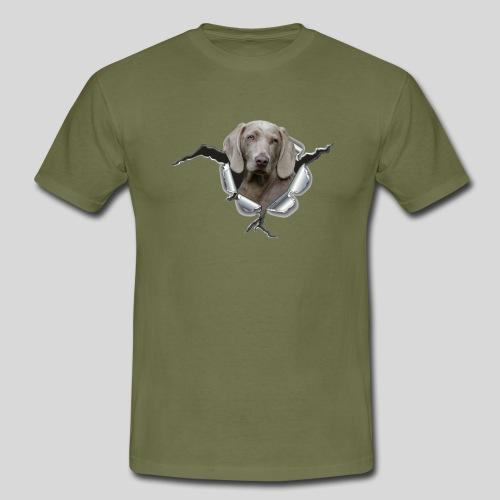 Weimaraner im *Metall-Loch* - Männer T-Shirt