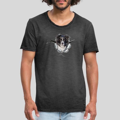 Border Collie im *Metall-Loch* - Männer Vintage T-Shirt