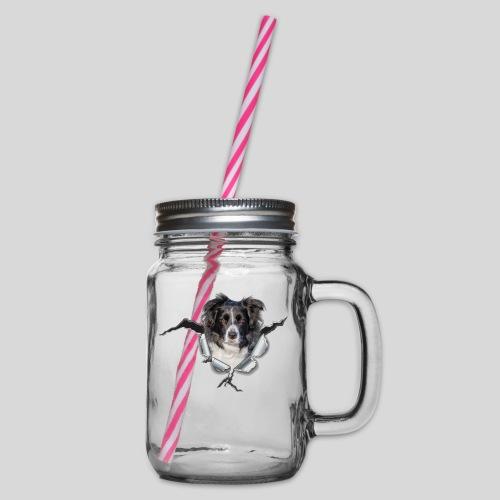 Border Collie im *Metall-Loch* - Henkelglas mit Schraubdeckel