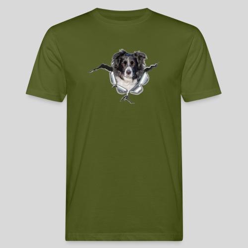 Border Collie im *Metall-Loch* - Männer Bio-T-Shirt