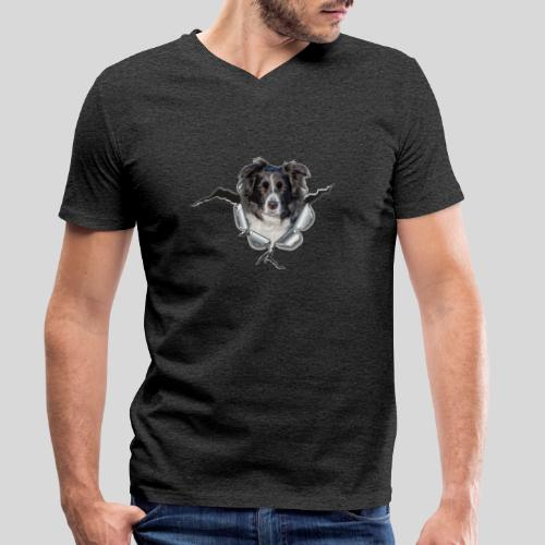 Border Collie im *Metall-Loch* - Männer Bio-T-Shirt mit V-Ausschnitt von Stanley & Stella