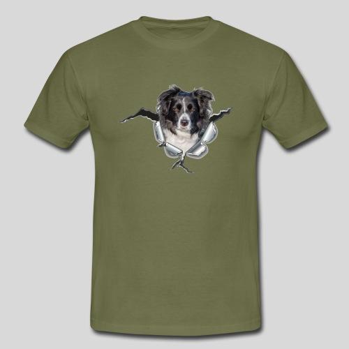 Border Collie im *Metall-Loch* - Männer T-Shirt