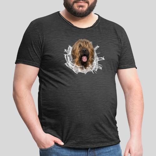 Briard fauve im *Glas-Loch* - Männer Vintage T-Shirt