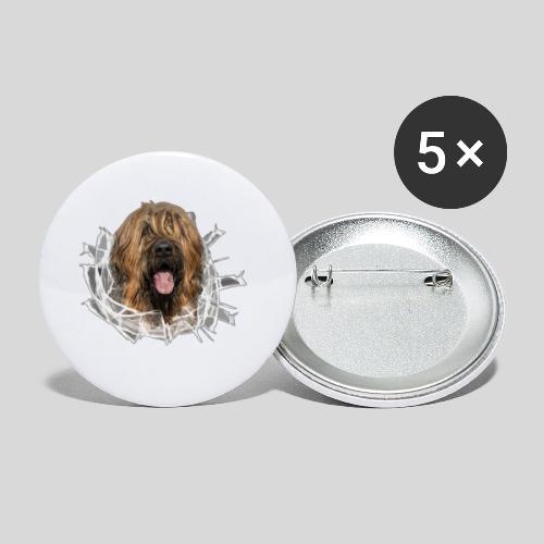 Briard fauve im *Glas-Loch* - Buttons klein 25 mm (5er Pack)