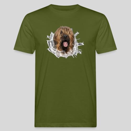 Briard fauve im *Glas-Loch* - Männer Bio-T-Shirt