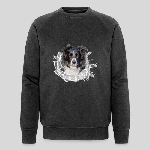 Border Collie im *Glas-Loch* - Männer Bio-Sweatshirt von Stanley & Stella