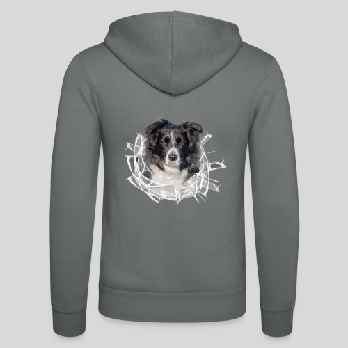Border Collie im *Glas-Loch* - Unisex Kapuzenjacke von Bella + Canvas