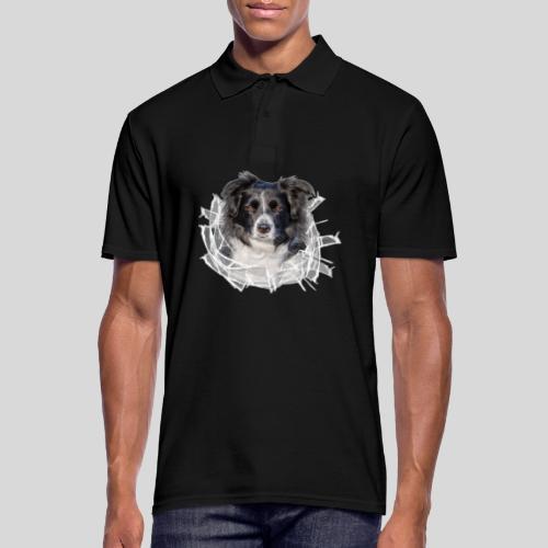 Border Collie im *Glas-Loch* - Männer Poloshirt